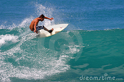 Surfer Jason Honda Surfing at Waikiki Beach Editorial Stock Photo
