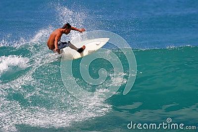 Surfer Jason Honda Surfing at Waikiki Beach Editorial Stock Photo