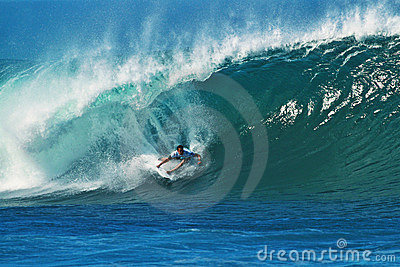 Surfer Jordy Smith Surfing Pipeline in Hawaii Editorial Stock Photo