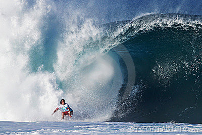Surfer Julian Wilson Surfing Pipeline in Hawaii Editorial Photography