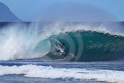 Surfer Kai Barger Surfing Pipeline in Hawaii Editorial Stock Image