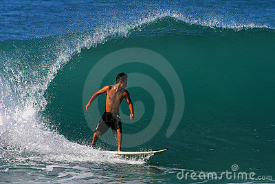 Surfer Kai Rabago Surfing at Waikiki Beach Editorial Stock Photo