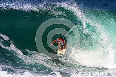 Surfer Kalani Robb Surfing at Backdoor Editorial Photo