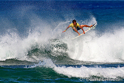 Surfer Kekoa Cazimero Surfing in Honolulu, Hawaii Editorial Photo