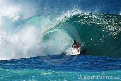 Surfer Kieren Perrow Surfing Pipeline in Hawaii Editorial Stock Image