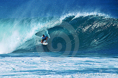 Surfer Michel Bourez Surfing Pipeline in Hawaii Editorial Photo