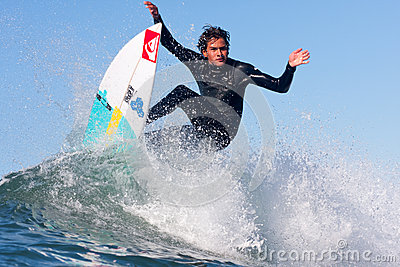 Surfer Nic Hdez Surfing in California Editorial Photography