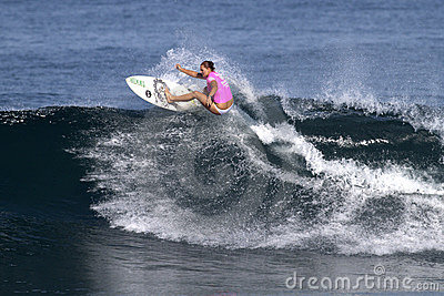 Surfer Nicola Atherton Surfing Haleiwa Hawaii Editorial Stock Photo