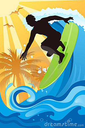 Surfer in the ocean