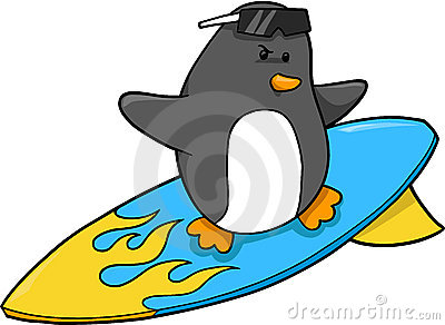 Surfer Penguin Vector