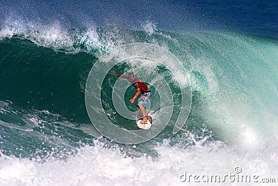 Surfer Phil Macdonald Surfing at Backdoor Editorial Photo