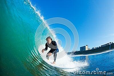Surfer racing Amazing Wave