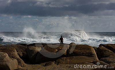 Surfer at Redgate Beach, Western Australia