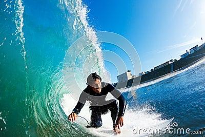Surfer riding Amazing Wave