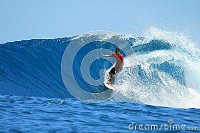Surfer riding blue wave, Mentawai, Indonesia