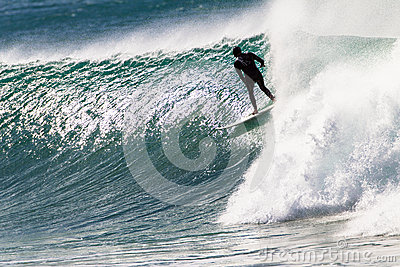 Surfer Riding Wave Excitement Editorial Image