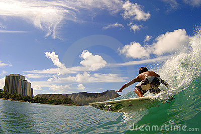 Surfer Seth Moniz Surfing at Waikiki Beach Hawaii Editorial Photography