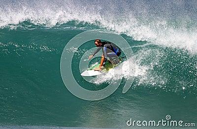 Surfer Shane Beschen Surfing in Hawaii Editorial Stock Photo