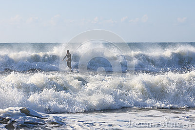 Surfer Silhouette Ocean Wave North Carolina Editorial Stock Image