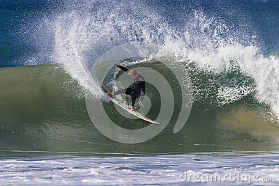 Surfer Wave Skill Power Carve Editorial Image