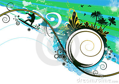 Surfer in summer vector background