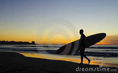 Surfer at Sunset, La Jolla shores