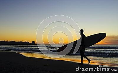 Surfer at Sunset, La Jolla shores