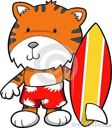 Surfer Tiger Vector