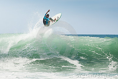 Surfer training before competition Editorial Stock Image