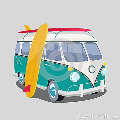 Free Surfer Van Poster Or T-shirt Graphics Stock Images - 55456804