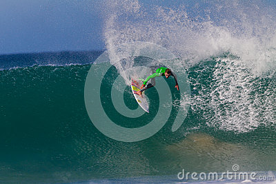 Surfer Wave Goofy Action Editorial Photo