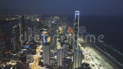SURFERS PARADISE, AUSTRALIA- DECEMBER, 4, 2016: night time view to the north of surfers paradise from the Q1 building. In queensland, australia stock footage