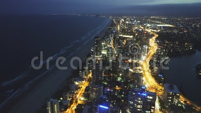 SURFERS PARADISE, AUSTRALIA- DECEMBER, 4, 2016: night view to the south of surfers paradise from Q1 building. SURFERS PARADISE, AUSTRALIA- DECEMBER, 4, 2016 stock footage
