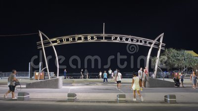 Surfers Paradise, AUSTRALIA-March, 6, 2017: night shot of the surfers paradise sign on main beach. In Queensland, australia stock video footage