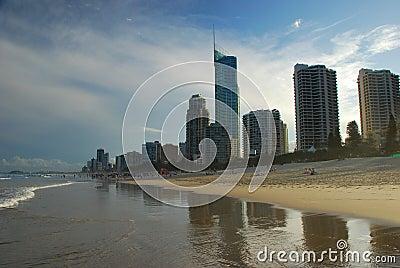 Surfers Paradise beach. Gold Coast, Queensland, Australia Editorial Photo