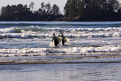 Surfers on Vancouver Island