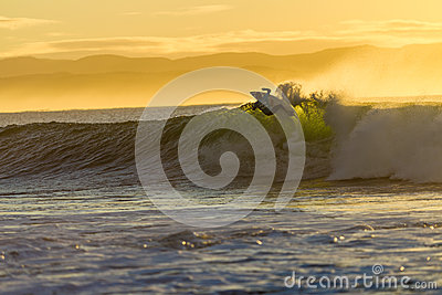 Surfing Action Wave Morning Editorial Stock Image