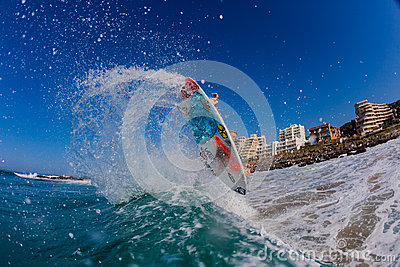 Surfing Air Water Action Editorial Image