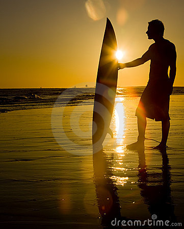 Free Surfing At Sunset Stock Photos - 9661683