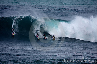 Surfing the Big Waves at Waimea Bay Editorial Stock Photo