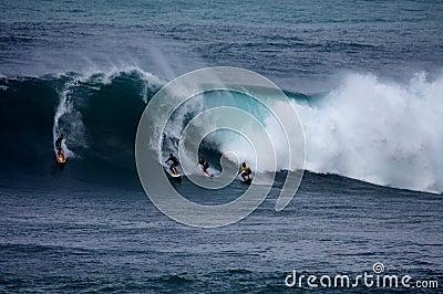 Surfing the Big Waves at Waimea Bay Editorial Stock Photo
