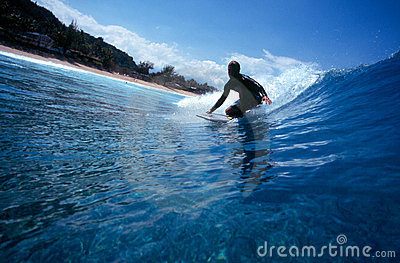 Surfing a Bodyboard in Blue Hawaii