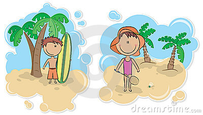 Surfing boy and girl with badminton racket