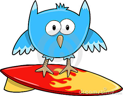Surfing Cute Owl Bird Vector Stock Photo - Image: 12851430