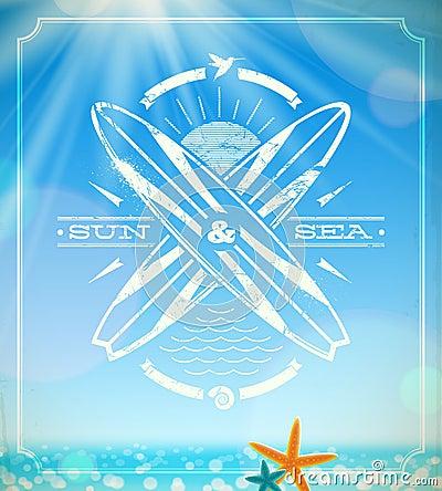 Free Surfing Grunge Vintage Emblem Stock Image - 29933971