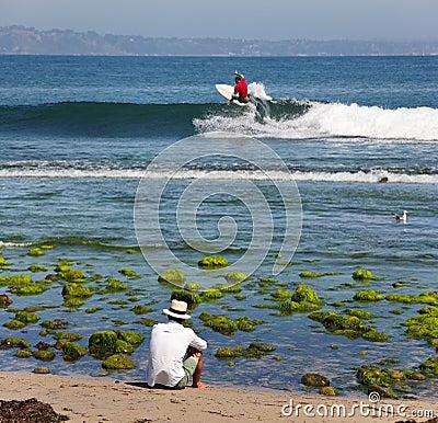 Surfing in the ocean