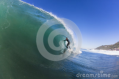 Surfing Rider Curling Wave Editorial Stock Image
