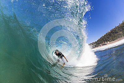 Surfing Rider Hollow Wave Editorial Photography