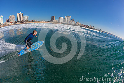 Surfing Rider Water Bottom Turn Editorial Photo
