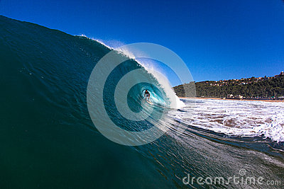 Surfing Riding Blue Hollow Wave Editorial Stock Photo